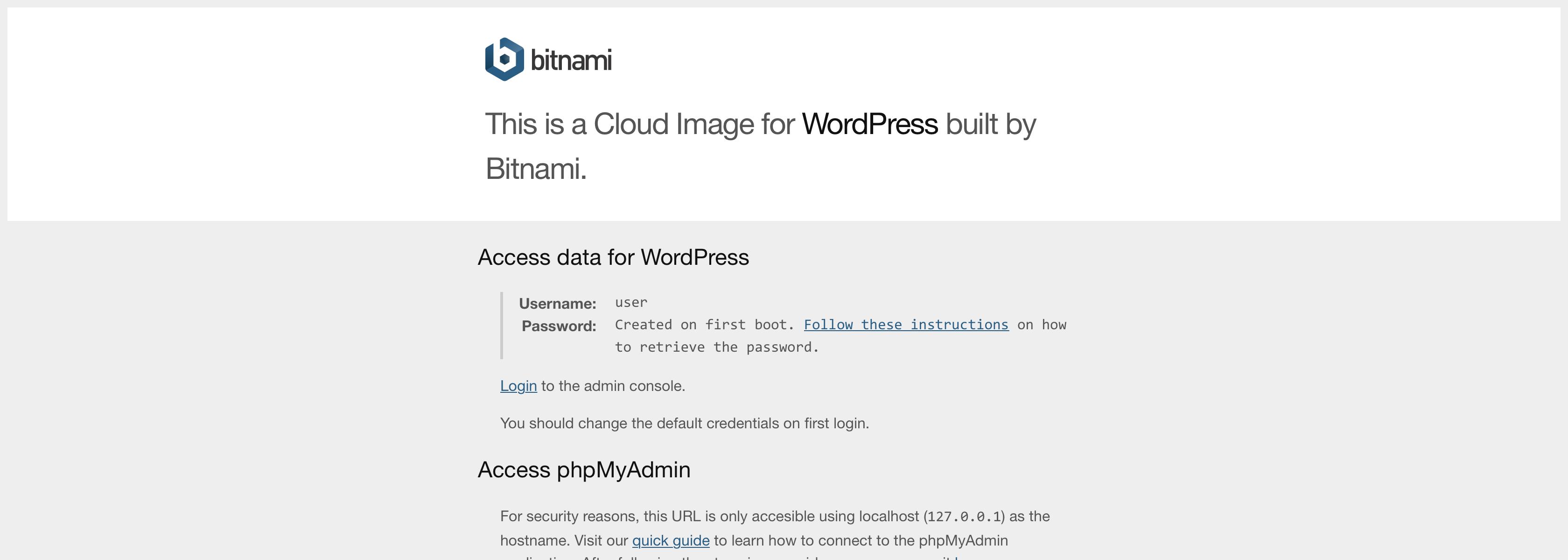 移除 Bitnami Info Page Banner