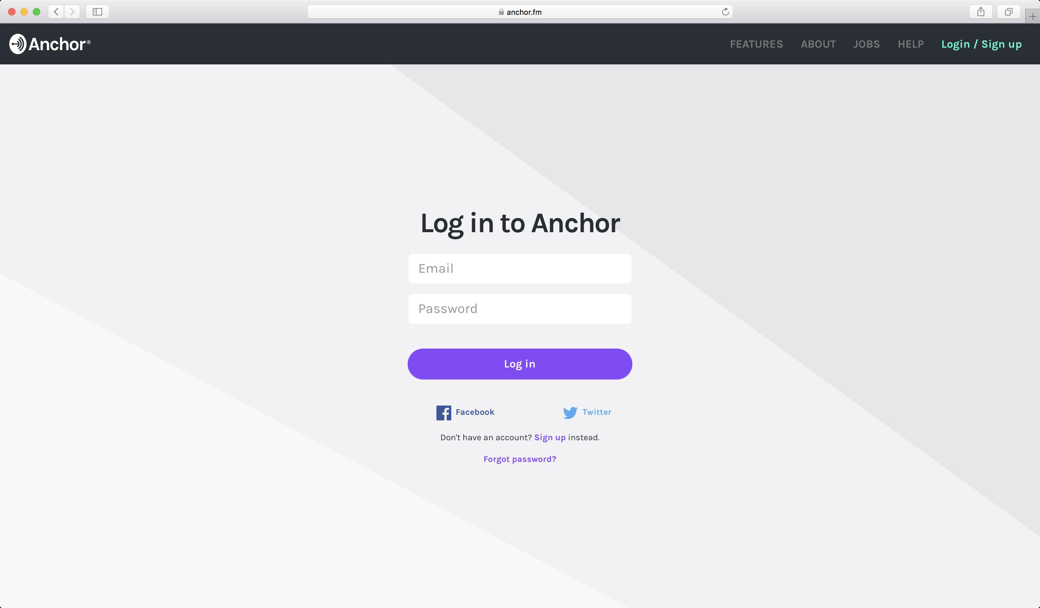 Anchor - 登入畫面