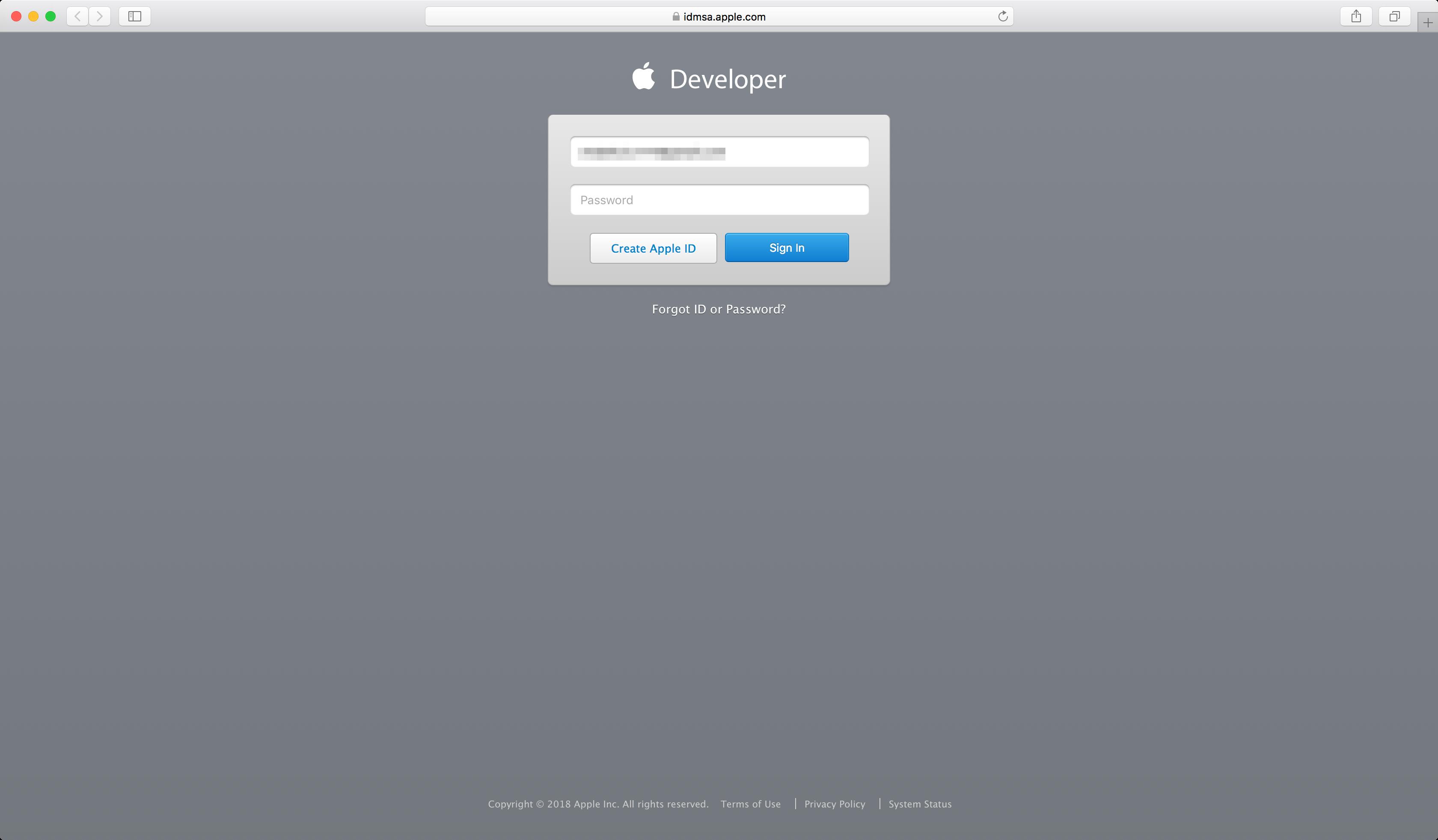 Renew Apple Developer membership - Login
