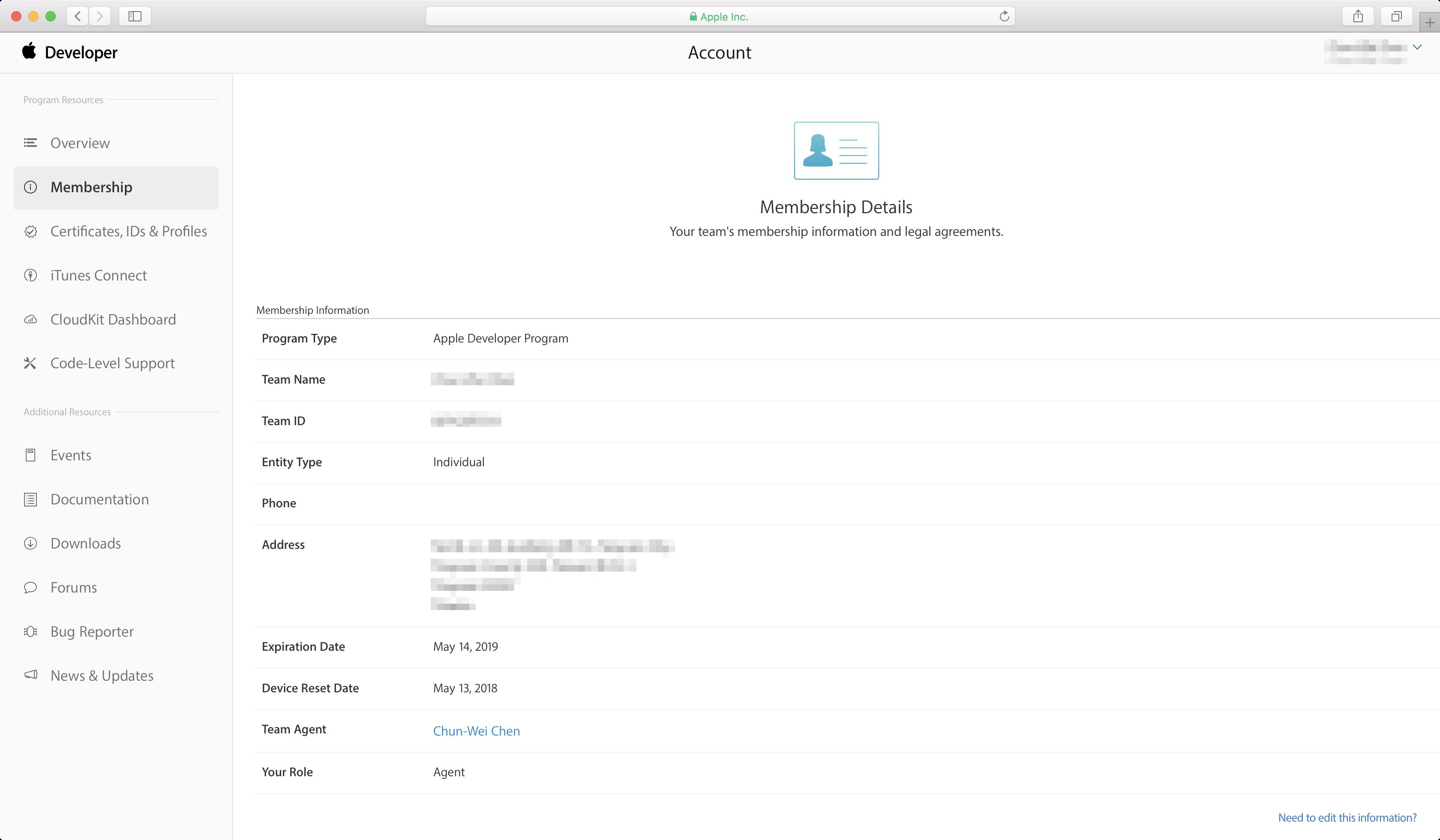 Renew Apple Developer membership - Dashboard