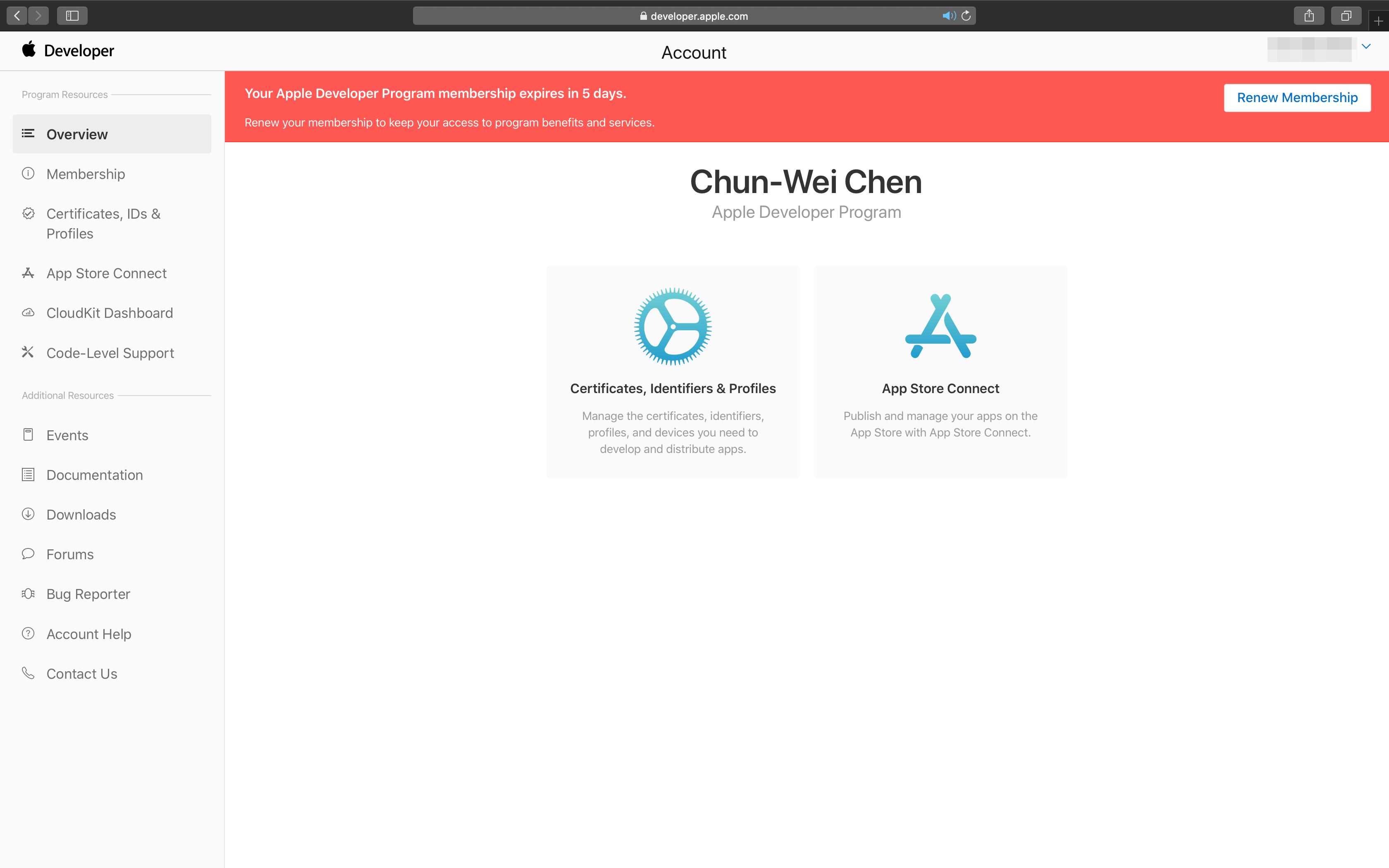 Renew Apple Developer membership - Dashboard - Alert
